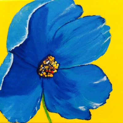 blue flower on yellow